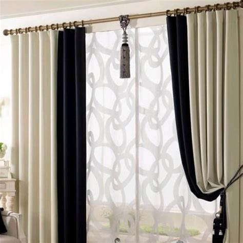 in a white room with black curtains black and white living room curtains home design