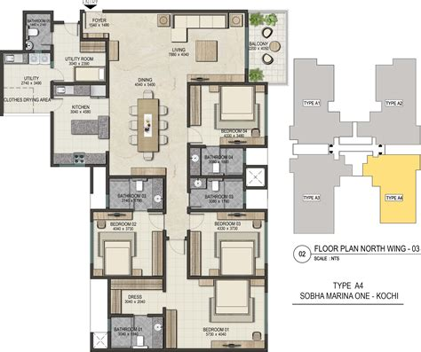 marine one floor plan sobha marina one in marine drive kochi price location