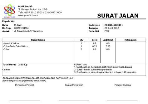 Contoh Surat Biaya Jasa Pengiriman Barang by Contoh Surat Jalan Pengiriman Barang Doc Surat 8