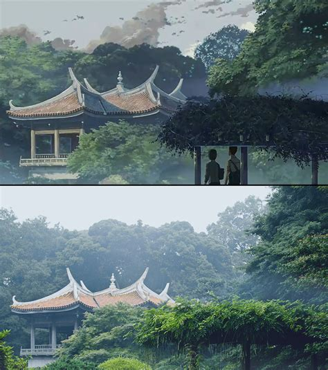 garden of words animated movie backgrounds juxtaposed with