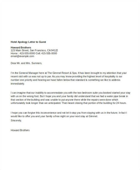 Sle Writing Apology Letter Hotel Customer 29 images of apology letter template infovia net