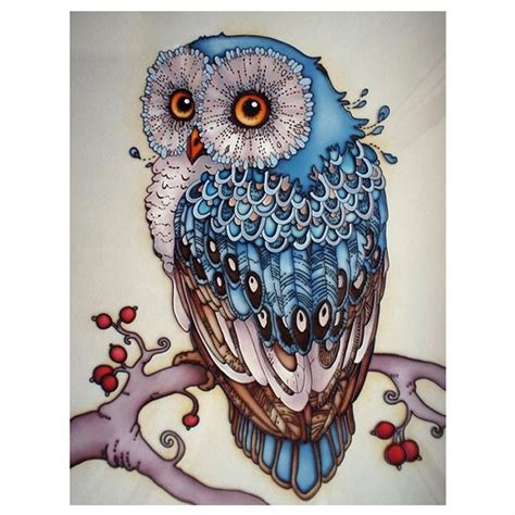 decorative owls 5d diy diamond painting owl cross stitch beautiful blue