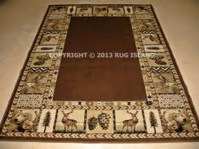 Deer Area Rugs 8x11 7 10 Quot X 10 10 Quot Lodge Cabin Deer Buck Antler Brown Area Rug Ebay