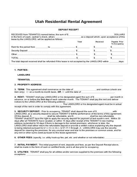 Utah Residential Lease Agreement Free Download Rental Agreement Template Utah