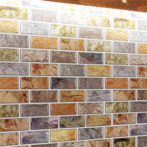 Peel And Stick Vinyl Tile Backsplash Adhesive Mosaic Tile Backsplash Color Subway 10 Pieces
