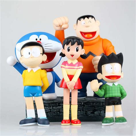 Doraemon Nobita 5pcs 2016 new doraemon figures big size 21cm 5pcs lot nobita