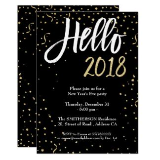 new year 2018 invitation card new years invitations announcements zazzle co uk
