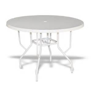 White Patio Tables by Strap Round Patio Dining Table With Fiberglass Top White 42 Quot