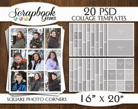 Twenty 20 16 Quot X 20 Quot Digital Photo Collages Storyboard Templates Psd Format Photo Scrapbook 20 Photo Collage Template