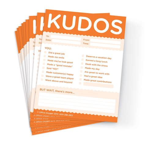 kudo cards templates kudos for work note pad set set of 10 orange