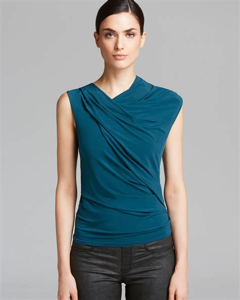 Sweater O Neck Twis Pria 1 lyst helmut lang top faint neck twist in blue