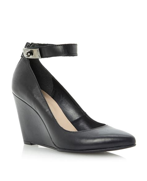 dune annex ankle pointed wedge court shoes in black