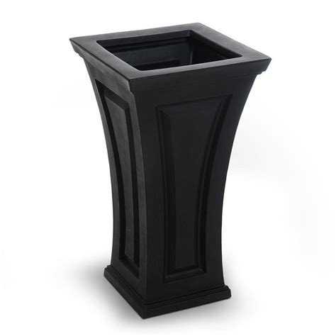Column Planters by Mayne Cambridge 16 In Square Black Plastic Column Planter