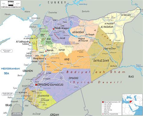 syria on map political map of syria ezilon maps