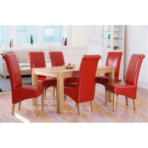 red dining room table evelyn oak dining table set with 6 red dining chairs 10866