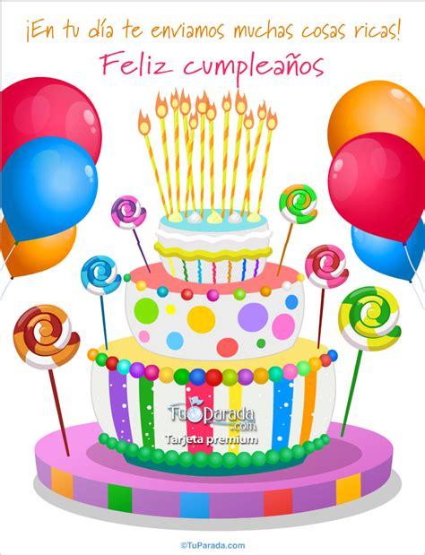 felicitaciones de cumpleanos con torta de colores tarjeta de cumplea 241 os con torta de colores saludos