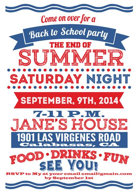 Come With Me End Of Summer Bbq Invites by Custom Back To School Invitations Precise Bees