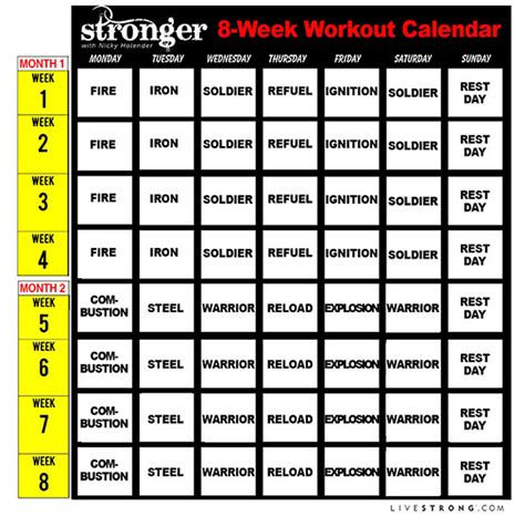 printable ufc schedule printable 8 week workout calendar and 10 free workout
