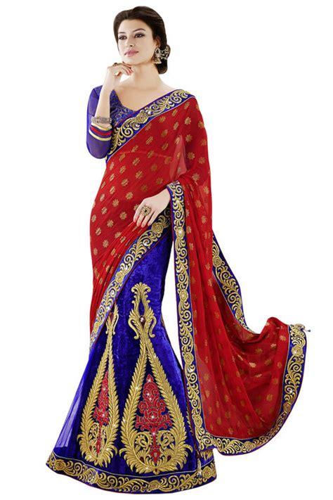 Blouse Ptr 001 Royal Blue Designer Velvet Lehenga Saree In Surat Gujarat