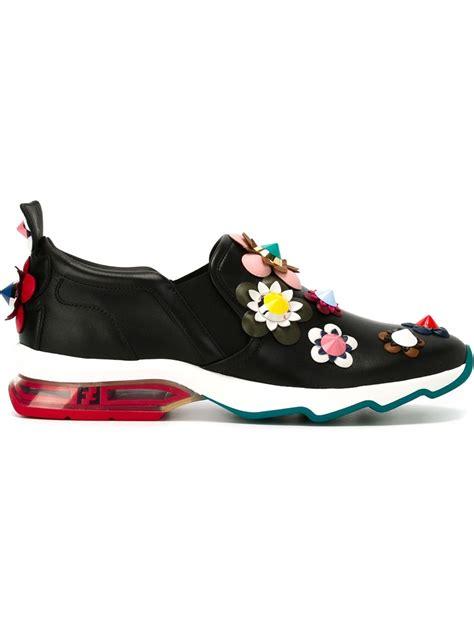 Diskon Fendi Flower Sneakers fendi flower appliqu 233 sneakers in black lyst