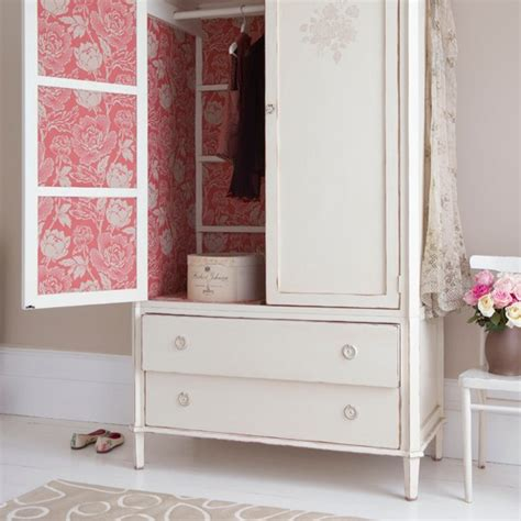 Country Wardrobe by Bedroom Wardrobe With Damask Wallpaper Country Bedroom