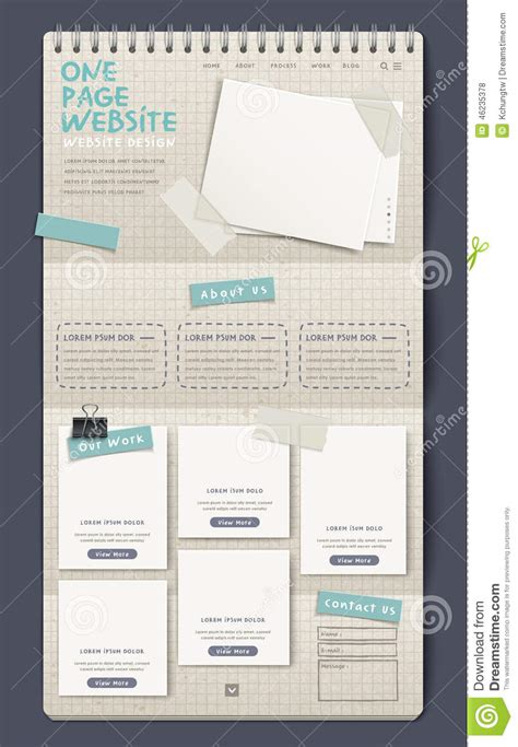 notebook design template notebook style one page website design template stock