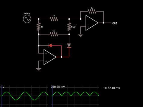 rectifier circuit using op wave rectifier with op s circuit simulator