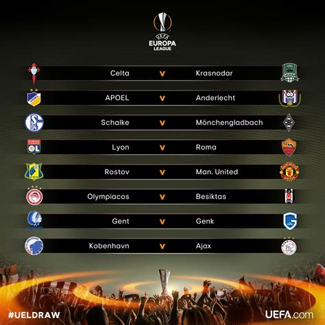 Calendrier Chions League 8eme De Uefa Europa League Europaleague