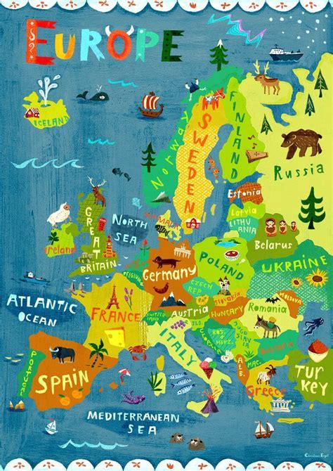 kinderzimmer deko deutschland digitaler druck poster europa landkarte deko kunst fuers