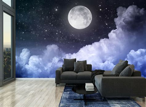 dark night sky moon clouds stars photo wallpaper wall