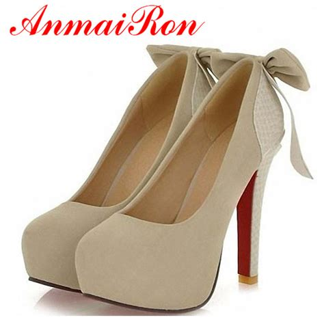 New Kvoll Size 34 42 R16 anmairon pumps large size 34 42 high heels princess bow shoes wedding footwear