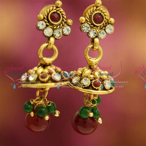 Handmade Artificial Jewellery - j3234 mini antique gold plated jhumka handmade fancy