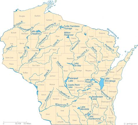a map of wisconsin map of wisconsin lakes streams and rivers