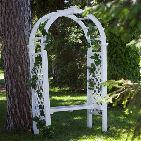 arbor with bench eden livingston 7 5 foot vinyl arch arbor with bench