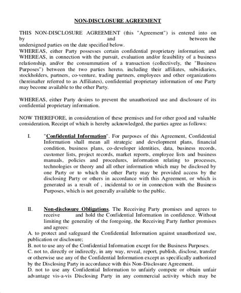 non disclosure confidentiality agreement template non disclosure agreement template 9 free word pdf