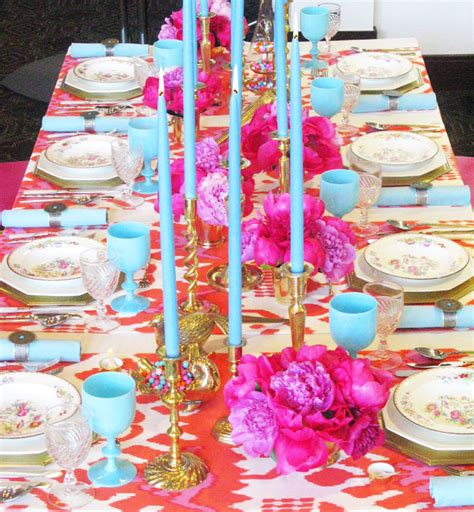orange and turquoise tablescape turquoise with orange pink and blue romantic tablescape the seasoned dish