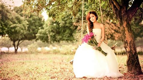 Wedding Dress Korean 720p by Asian Play Swing White Dress Flowers Wallpaper