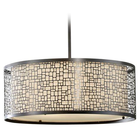 Modern Drum Pendant Lighting Modern Drum Pendant Light With Beige Glass In Light Antique Bronze Finish F2638 3lab
