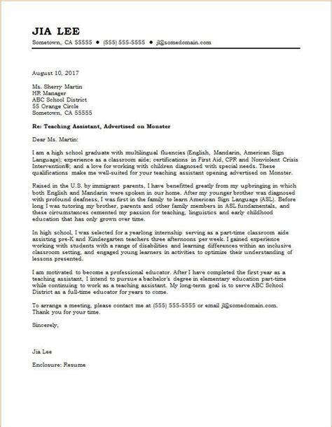 Teaching Assistant Cover Letter Template sle cover letter for teaching assistant placement