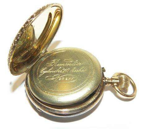 antique remontoir bylindre 14k gold pocket rubies