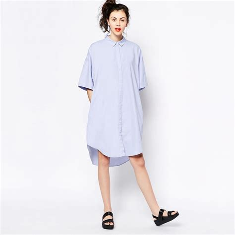 Fashion Wanita Dress Midi Dress plus size shirt dress fashion boyfriend style