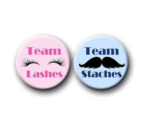 gender reveal mustache or lash gender reveal favors 1 25 inch pinback buttons team pink team
