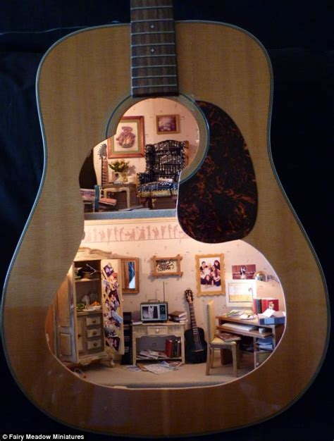 guitar house music talk about the home of music resourceful mum carves doll s house inside a guitar as a