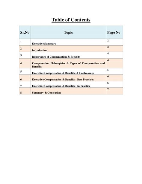 Compensation And Benefits Project For Mba by A Report On Best Executive Compensation Benefits Practices