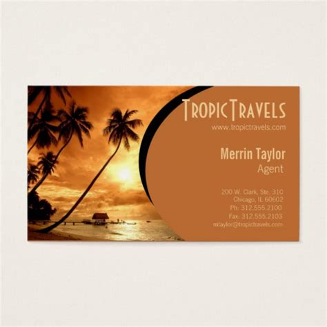Travel Agency Gift Cards - sunset island travel agency business card zazzle com
