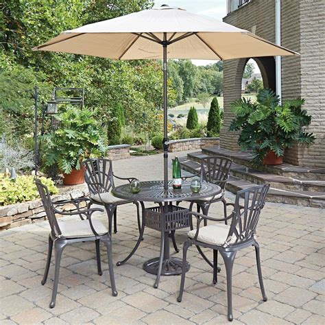 Patio Dining Set With Umbrella Home Styles Largo 5 Patio Dining Set With Umbrella And Cushions 5561 3086c The Home Depot