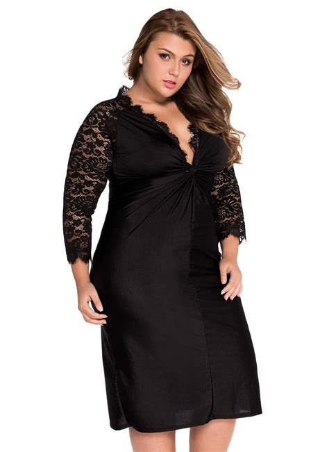 Plus Size Cocktail Dress With Sleeves | black xxl plus size cocktail dress with lace sleeves chicuu