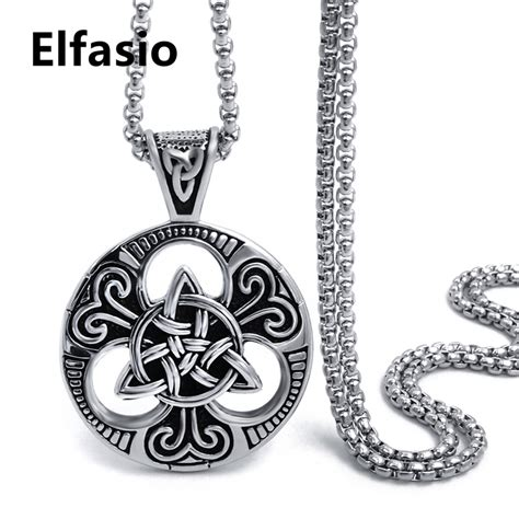 Black Pendant Necklace D15 30 mens boys silver black celtic knot magic pendant with 18 30inch stainless steel necklace chain