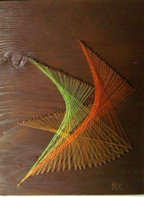 Nail Wood String - vtg retro modern 60s 70s string yarn wood nail wall op
