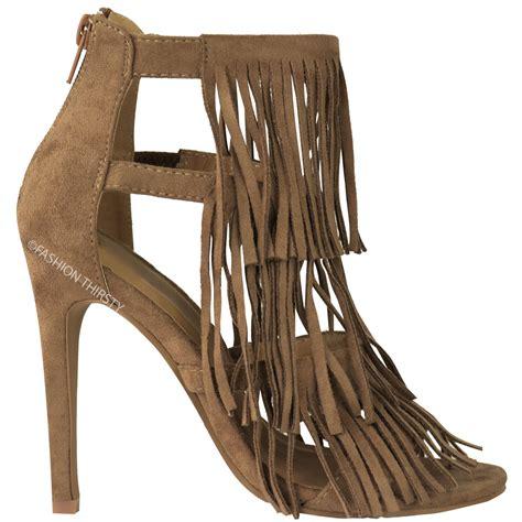 fringe heel sandals womens fringe high heel sandals tassel